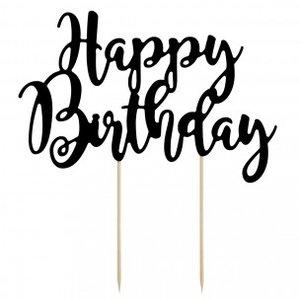 Topper Happy Birthday  Zwart