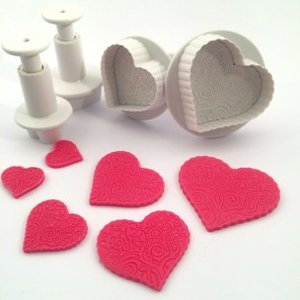 Dekofee Plungers Patterned Hearts set/4