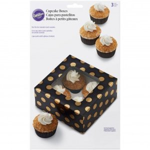 Wilton Cupcake Box Black Gold Dot pk/3
